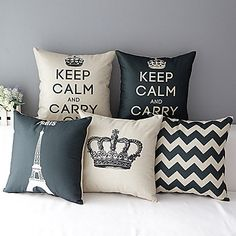 Set of 5 Modern Style Crown Patterned Cotton/Linen Decorative Pillow Cover - USD $ 63.99