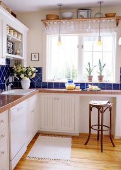 Favorite combinations of deep blue like the sea, and white like clouds, with the feel of grandma's kitchen and getting in her cupboards.