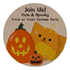 Customizable Halloween - Pumpkin Cat Card - invitations personalize custom special event invitation idea style party card cards