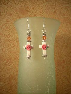 Christian Cowgirl Earrings - Howlite Crosses with Swarovski Crystal