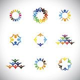 Colorful people, children, employees icons collection set - vect Royalty Free Stock Images