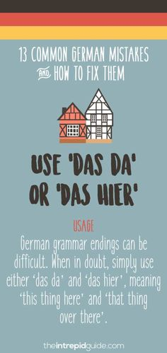 German Grammar Mistakes You Make & How to Fix Them Immediately Common German grammar mistakes - Das da or das hierCommon German grammar mistakes - Das da or das hier Best Language Learning Apps, Learning Languages Tips, German Language Learning, Foreign Languages, German Grammar, German Words, Funny German Phrases, The Words, Reflexive Verben