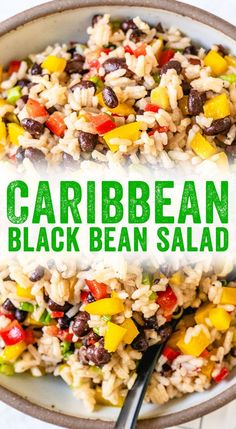 This black bean salad recipe is full of healthy ingredients and tastes tangy and satisfying, perfect for everything from potlucks to easy lunch ideas. #blackbean #salad #vegan #plantbased #vegetarian #lunch #potluck #caribbean #recipe #healthy #mealprep