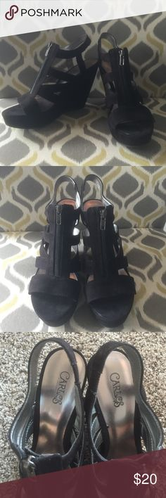 Carlos Santana black wedges Black wedges, worn twice. gorgeous AND comfortable Shoes Wedges