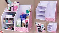 DIY Makeup Storage and Organization Diy Hidden Storage Ideas, Diy Storage Boxes, Diy Makeup Storage, Desk Organization Diy, Craft Storage, Cardboard Organizer, Cardboard Storage, Cardboard Box Crafts, Box Video