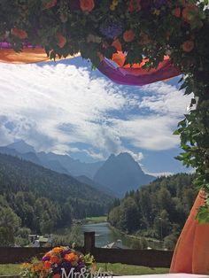 Trauung auf der Bergwiese Wettersteingebirge Herbst-Hochzeit in den Bergen, Lila, Orange, Riessersee Hotel Garmisch-Partenkirchen, Bayern, Autumn wedding in Bavaria, Lilac and Orange