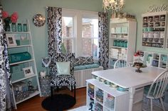 Craftroom ideas!...  Mine is brown, blue and off white/white accents! Birdie theme!