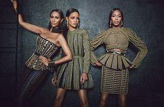 'Balmain's Fashion Army' - Iman, Rihanna, and Naomi Campbell | W Magazine September 2014