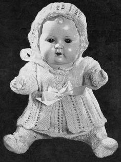 Vintage Baby Doll Set Knitting Pattern to fit by PippasPatternShop
