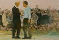 Walt Spitzmiller - The Concession 18 x 24 Oil on canvas 1969 Ryder Cup Oil On Canvas, Canvas Prints, Golf Art, Ryder Cup, Fine Art, History, Artist, Painting, Tie
