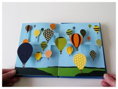 Beautiful work by Chisato Tamabayashi. 'Airborne'  A screen-printed pop-up book about the adventures of hot air balloons.