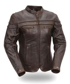 Look what I found on #zulily! Brown Sporty Scooter Leather Bomber Jacket - Women & Plus #zulilyfinds