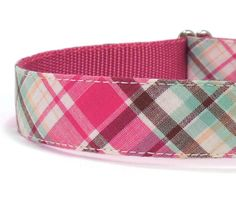 Preppy Plaid Dog Collar in Hot Pink Aqua and by WagglesAndCompany, $24.00
