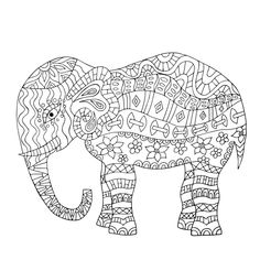 Stylized fantasy mandala elephant coloring page with paisley and mehndi symbols. Download, print and color today!