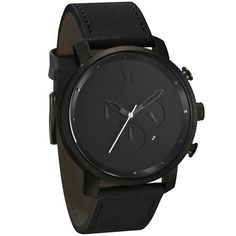 MVMT CHRONO BLACK LEATHER - $135