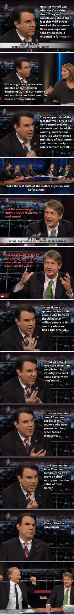 All of #ows summed up in one exchange between Alan Grayson and PJ O'Rourke