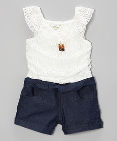 Take a look at this White Lace & Denim Romper - Infant, Toddler & Girls on zulily today!