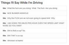 Minus (most) of the horrifying language this is definitely me while I'm driving. Especially the dinosaur screams.