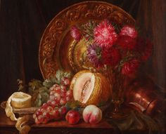 Emily Coppin Stannard Chrysanthemums, Fruit and Embossed Plate Oil on Canvas Norwich School, European Paintings, Still Life, Oil On Canvas, 19th Century, Chrysanthemums, Birds, Landscape, Fruit