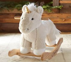 Nursery Unicorn Faux Fur Plush Rocker #pbkids yeah, this is going to happen