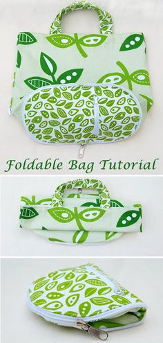 Foldable Shopping Bag Tutorial & Pattern : Compact Foldable Shopping Bag Tutorial Shopping Bag that allows you to fold it, then zip it up into a tiny little wallet. Fabric Crafts, Sewing Crafts, Sewing Projects, Diy Projects, Cork Crafts, Sewing Diy, Upcycled Crafts, Wooden Crafts, Project Ideas