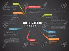 Vector Firma Infografik Übersicht Design-Vorlage Mit Bunten Etiketten - Dunkle Version Lizenzfrei Nutzbare Vektorgrafiken, Clip Arts, Illustrationen. Image 46521270.