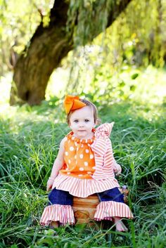 Orange and White Dots Ruffle Dress  perfect for by thetrendybaby, $27.00