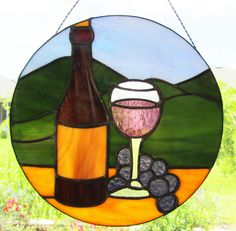 Wine Bottle and Glass Sun Catcher Wine by PinwheelStainedGlass