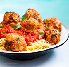 Spaghetti & Vegan No-Meatballs - Rolling, round, plump, tender balls piled high on a steamy swirl of spaghetti, bright marinara sauce spooned on top. A pinch of basil or parsley, and dusting of vegan Parmesan. Mmmm.