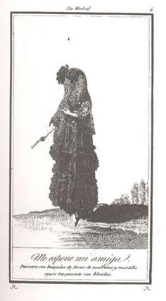 Petimetra con basquiña de flecos de madroños y mantilla negra transparente con blondas.