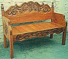 Mexican Colonial Style Furniture in Ensenada. Rustic Furniture in Baja. Mexican Colonial Style Furniture in Ensenada. Rustic Furniture in Baja. Carved Bench, Redo Furniture, Painted Furniture, Rustic Furniture, Headboard Benches, Bed Frame Bench, Mexican Furniture, Furniture Makeover, Cool Furniture