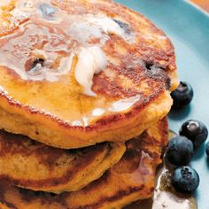 almond oat pancakes with blueberries and lemon recipe
