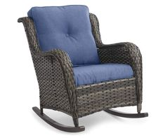 Wilson & Fisher Oakmont All-Weather Wicker Navy Blue Cushioned Patio Rocker Chair - Big Lots Wicker Rocker, Wicker Rocking Chair, Patio Rocking Chairs, Porch Furniture, Furniture Covers, Outdoor Furniture, Lounge Furniture, Patio Chairs, Outdoor Chairs