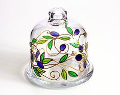 Hand Painted Lemon Holder With Olives-Hand Painted Glass Butter Server-Glass Cloche with olives pattern-Kitchen Container-Italian style tray
