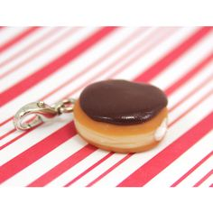 chocolate doughnut charm kawaii polymer clay charms miniature food... ❤ liked on Polyvore featuring jewelry, necklaces, charm jewelry, mini charm necklace, clay necklace, mini necklace and clay charms