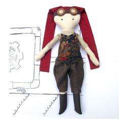 Steampunk Girl Doll Sewing Pattern PDF - Cloth Doll - Girl Mechanic by SweaterDoll on Etsy