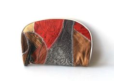vintage 80's makeup bag patchwork suede multi-colored purse small zipper zips womens fashion retro modern boho hippie red grey accessories by RecycleBuyVintage on Etsy