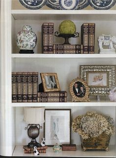 Southern Lady - May/June 2014 Issue Styling Bookshelves, White Bookshelves, Decorating Bookshelves, Bookshelf Design, Corner Bookshelves, Bookshelf Ideas, Living Room Shelves, Living Room Decor, Living Spaces