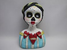 """love, forever love"" day of the dead doll mixed media art doll 