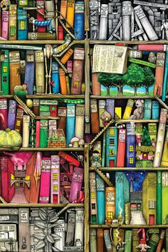 Fun & cute bookshelf style iPhone wallpaper...I'll have to see how this one looks. It appears blurry here :-/