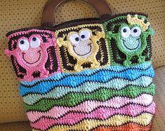 CROCHET PATTERN  Owl Tote'em  a colorful crochet owl