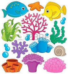 coral reef underwater: Coral reef theme collection 1 - vector illustration Illustration