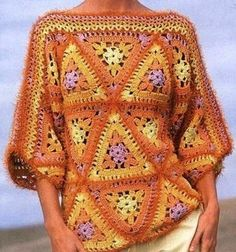 Crochet top with triangle grannies -it has a diagram