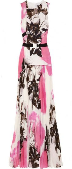 Christopher Kane Rose-print pleated silk-chiffon gown on shopstyle.com