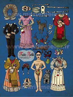 Frida Kahlo Paper doll small Art Print from Marie Meier art & prints
