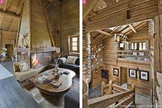 Salon avec cheminée en bois, escalier en bois.