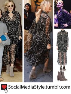 Buy Kate Hudson's Black Floral Print Maxi Dress and Grey Suede Boots, here!