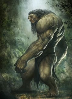 Giant  fantisy idea of a giant. it would be interesting to see a pop culture version of this type of monstorous fictitious charictor- like a giant ogre listening to a ipod or texting or something.