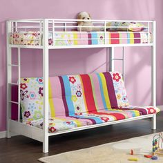 Walker Edison Sunrise Metal Twin/Futon Bunk Bed Frame (Available in Black or White) Girls Bunk Beds, White Bunk Beds, Metal Bunk Beds, Modern Bunk Beds, Full Bunk Beds, Kid Beds, White Futon, Grey Futon, Black Futon