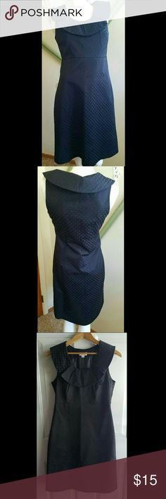 "Little Black Dress Gently loved. Black Polkadot Dress. Rounded oversize collar giving it a vintage vibe. Side zipper. Lined. Outshell 55% cotton & 45% polyester. Lining 100% polyester.   Measurements  Bust 34.5"" Waist 27.5"" Hip 37""  Length 38""   Get an additional 30% off when purchasing 3 or more items using the bundle feature. Always willing to negotiate. Merona Dresses"